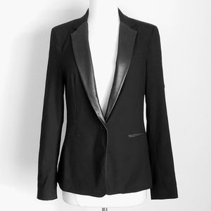 Zara Vegan Leather Collar Tuxedo Blazer Jacket
